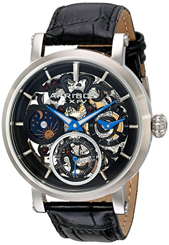 Akribos XXIV Men's AK745SSB Automatic Movement Watch with Black and See Thru Dial and Black Leather Strap