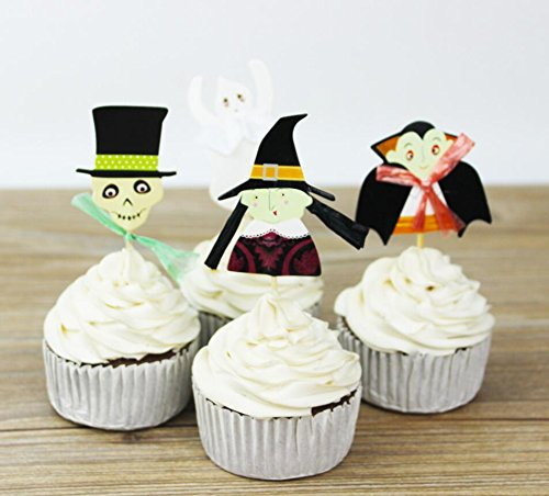 Halloween Cake Cupcake Topper 24Pcs/set, KOOTIPS Happy Halloween DIY Cupcake Topper Cake Smash Candle Alternative Party Handmade - 540 Candle