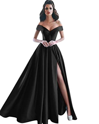 Harsuccting Off The Shoulder V-Neck Pleat Slit Long Satin Evening Prom Dress Black 2