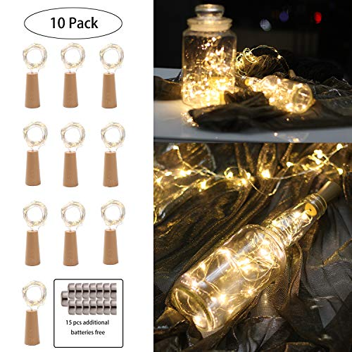 Barisc Wine Bottle Lights with Cork, 10 Packs LED Fairy Lights Battery Operated 6.5ft 20 LEDs Silver Copper Wire (Warm White, Waterproof)