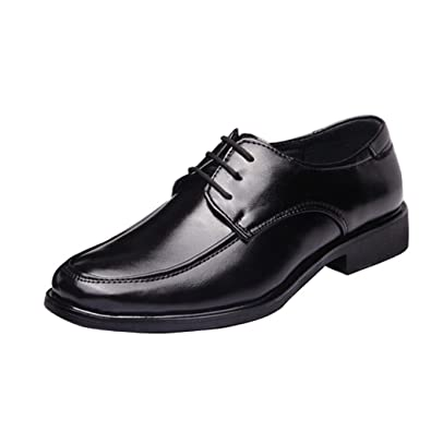 Men Black Pointed Toe PU Leather Lace Up Shoes Casual Wedding Formal Size 9