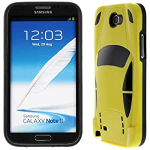 Evecase Hybrid Protector Cover Case for Samsung Galaxy Note 2 II N7100 - Yellow Supercar Edition