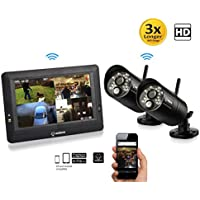 SEQURO GuardPro DIY Surveillance System with 7 Wireless Touchscreen Monitor and 2 Outdoor/Indoor IP66 Weatherproof HD Security Cameras