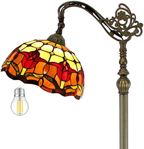 Tiffany Style Reading Floor Lamp Lighting W12H64 Inch LED Bulb Inclued Red Cream Stained Glass Tulip Lampshade Antique Adjustable Arched Standing Resin Base Foot Switch Easy Assemble S030 WERFACTORY