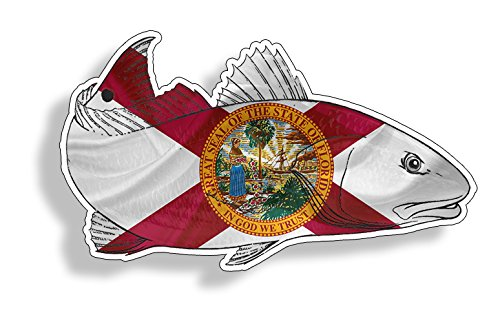 Florida FL Red Fish Sticker Car Truck Laptop Fishing Decal Graphic