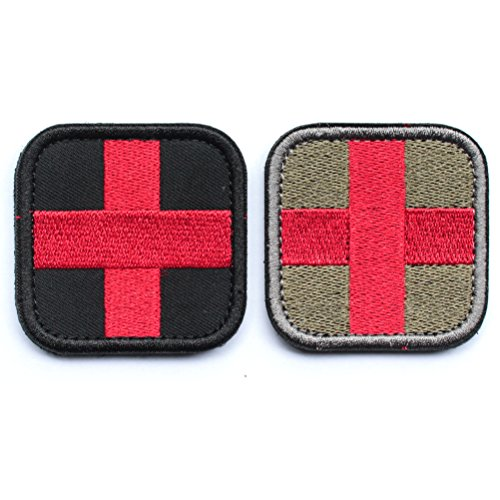 Velcro Cross - 2pcs Bundle - Embroidered Medic Cross Tactical Patch with backing red & black / Red & Green Decorative Badge appliques