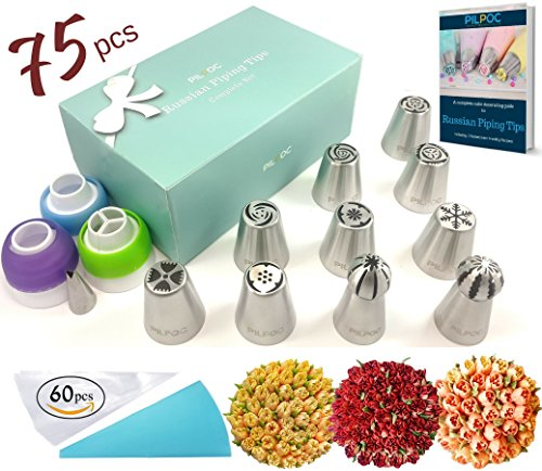 Russian Piping Tips Set (75 PCS): 10 Seamless Russian Tips For Cake Cupcake Decorating, 1 Leaf Tip, 1 Silicone and...