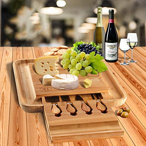 Bambusi Cheese Board and Knife Set – Premium Bamboo Wood Charcuterie Platter Serving Tray with Cutlery – Perfect for Housewarming, Wedding & Birthday Gift 51WXUK 2BB2oL