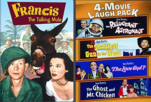 Beloved Comedy Favorites Don Knotts Reluctant Astronaut / Ghost and Mr. Chicken / Love God? / Shakiest Gun in the West + Francis the Talking Mule 5 Family DVD Movie Pack