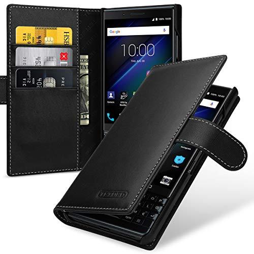 TETDED Premium Leather Case for BlackBerry KEY2 LE, Gerzat, Book Type (Nappa Black) Blackberry Leather Folio Case