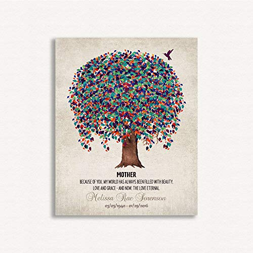 9.5 X 12 Metal Print Memorial Plaque for Mother Love Eternal Poem Tree Hummingbird Gift for Remembering Mum Custom Art Print #1241