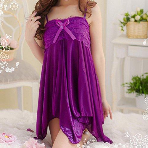 SMARTLADY Mujer Lencería Ropa Interior de Dormir Vestido Morado