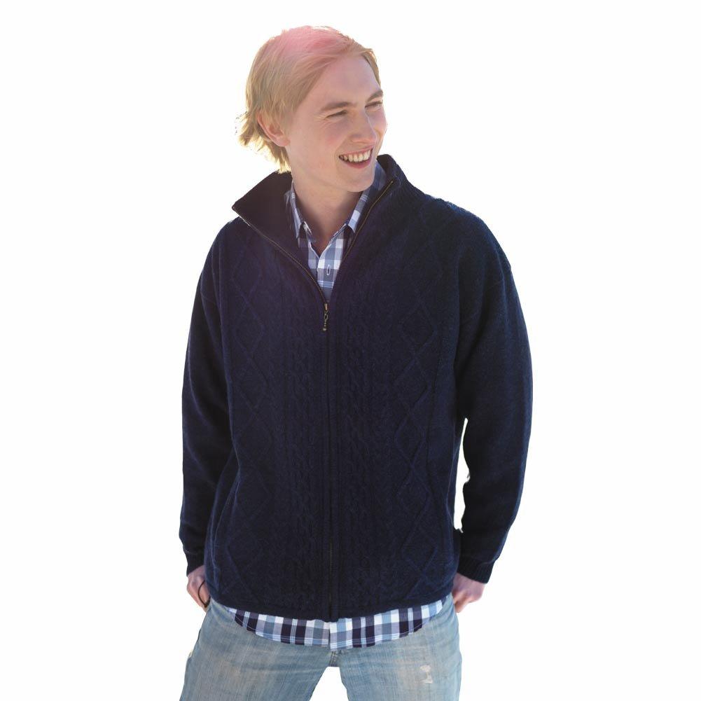 100% Pure New Irish Wool Mens Shetland Lined Zipper Aran Sweater by Carraig Donn