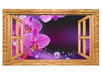 3d Wandtattoo Orchidee Blume Lila Rosa Wasser Fenster Selbstklebend