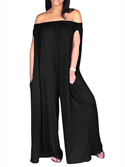 cf79d5884dac Amazon.com  Sibylla Women s Sexy Off The Shoulder Oversized Plain ...