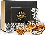 KANARS Emperor Whiskey Decanter And Glasses Set With Luxury Gift Box For Scotch + Bourbon + Liquor, 5-Piece, Original