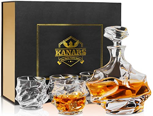 KANARS Emperor Whiskey Decanter And Glasses Set With Luxury Gift Box For Scotch + Bourbon + Liquor, 5-Piece, Original