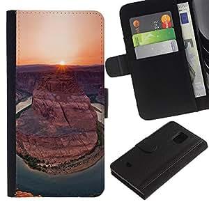 Samsung Galaxy S5 Mini / SM-G800 (Not For S5!!!) Modelo colorido cuero carpeta tirón caso cubierta piel Holster Funda protección - Canyon Sunset Sunrise Sun Desert
