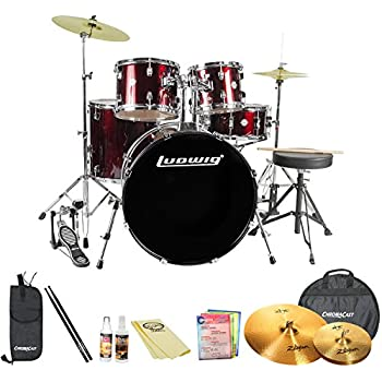 Ludwig Accent Drive 5-Pc Standard Size Drum Set with Zildjian Cymbals & ChromaCast Accessories, Wine Red Sparkle