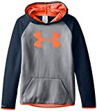 Under Armour Women's Armour Fleece Big Logo Hoodie, True Gray Heather /After Burn, Youth Large