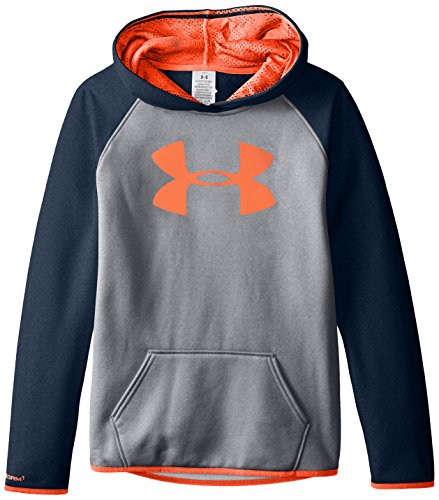 (Under Armour Women's Armour Fleece Big Logo Hoodie, True Gray Heather /After Burn, Youth Large)