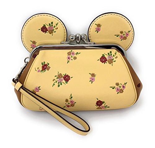Coach X DISNEY MINNIE MOUSE KISSLOCK Floral Printed WRISTLET Handbag