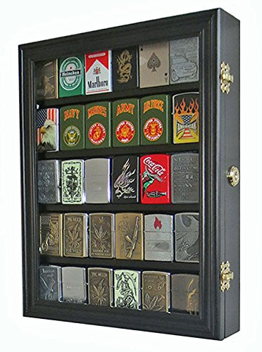 Sport Zippo Cigarette Lighter Display Case Wall Cabinet Lockable
