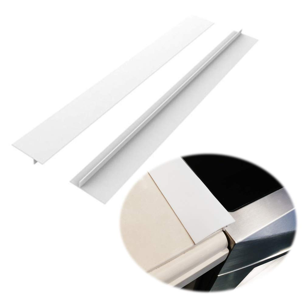 Silicone Kitchen Stove Counter Gap Covers, Heat Resistant Kitchen Counter Gap Anti-Static Non-Tacky Filler Seals Spills Between Counter, Stovetop, Oven, Washer, Set of 2 (21 Inches, White) by Gosmol