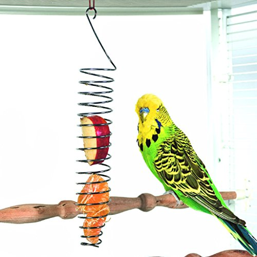 Seaskyer Parrot Food Fruits Basket Millet Stainless Steel Feeding Device Bird Cage Feeder 24x4.5cm/9.45x1.77''