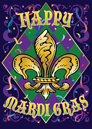 Toland Home Garden 1012282 Mardi Gras Confetti 28 x 40 Inch Decorative, Spring Fat Tuesday Fleur-de-lis Double Sided House Flag