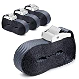 Nihoooo Cargo Sturdy Lashing Strap - 4 Pack 16 ft Heavy Duty Tie Down Straps - Padded Cam Siainless Lock Buckler - Car Luggage Kayak Trailer Camper Motorcycle (Black)