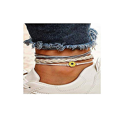 Dwcly Boho Yellow Flower Anklet Multilayer Rope Chain Foot Jewelry Bare Foot Beach Holiday Aceeosries