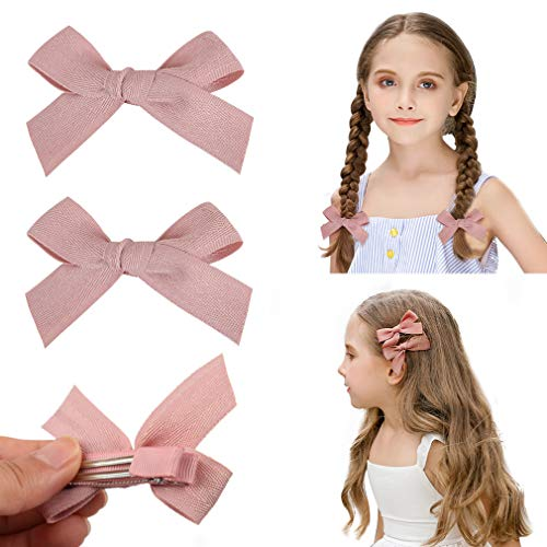 (DEEKA 2 Pack Hair Clip Hair Bows Fringe Clip for Little Girls - Solid Light Pink)