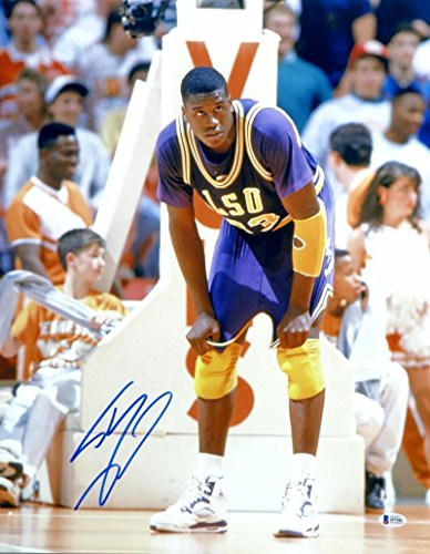 Shaquille O'Neal Autographed 16x20 LSU Tigers Hands on Knees Photo- Beckett Auth - Beckett Authentication
