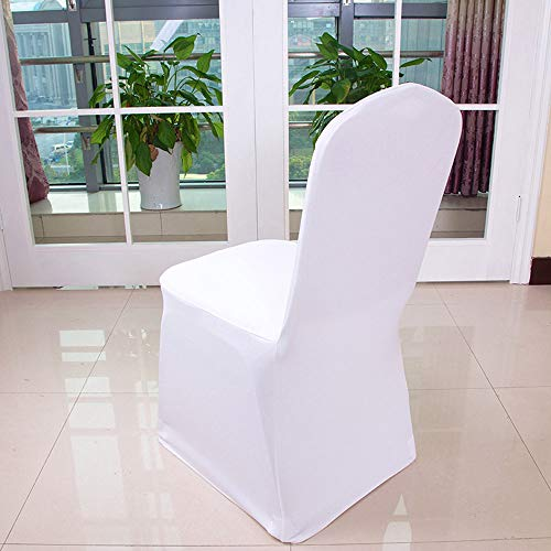 YJYdada 1pcs White Flat Arched Front Covers Spandex Lycra Chair Cover Wedding Party (A) by YJYdada (Image #4)