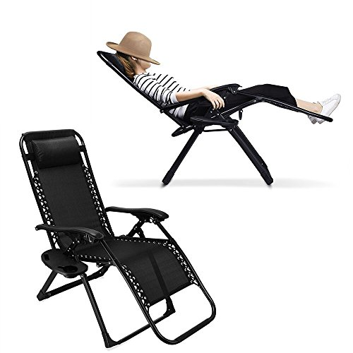 Ezcheer Zero Gravity Chair, Supports 330 lbs Heavy Duty Patio Lounge Chair,Comfortable Outdoor Camping Beach Chair Recliners with Cup Holder (Black) by Ezcheer
