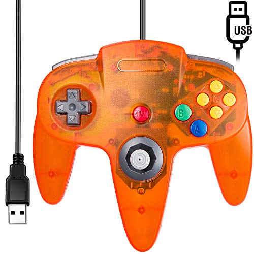 [USB Version] Classic N64 Controller, SAFFUN N64 Wired USB PC Game pad Joystick, N64 Bit USB Wired Game Stick for Windows PC MAC Linux Genesis Raspberry Pi Retropie Emulator [Plug & Play] (Orange)