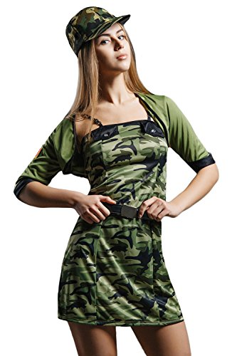 Adult Women Sexy Soldier Halloween Costume Camo Army Brat Dress Up & Role Play (Standard+) (Military Halloween Costumes For Womens)
