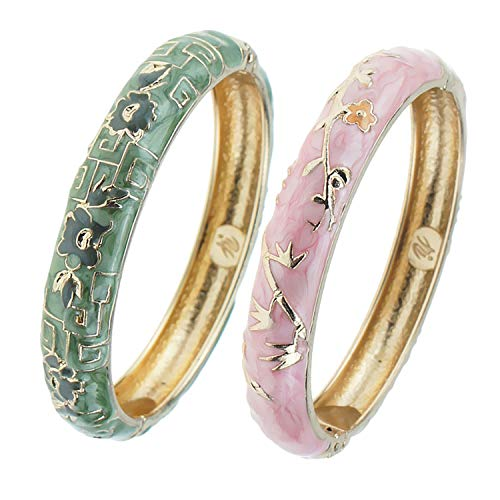 UJOY Elegant Bracelet Gold Plated Enameled Jewelry Spring Hinge Metal Cuff Cloisonne Bangles Set Gift Box Packed 55A114 Green
