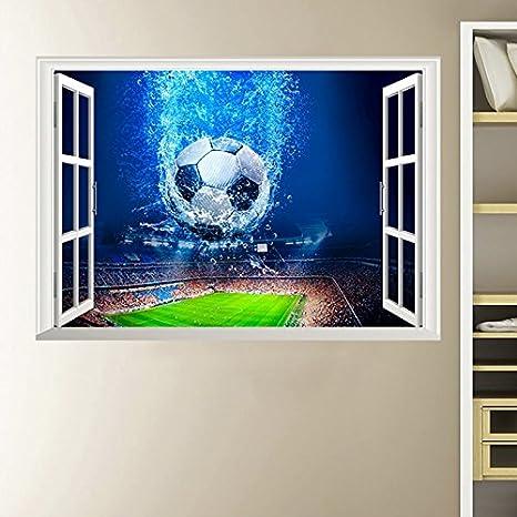 3D ventana de fútbol balón de fútbol pegatinas de pared para ...
