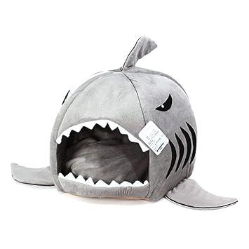 Jamisonme - Cama extraíble con Tiburones Grises para Perros pequeños Cat Cueva con cojín removible, Parte Inferior Impermeable (pequeña (16.5x16.5x14.5 ...