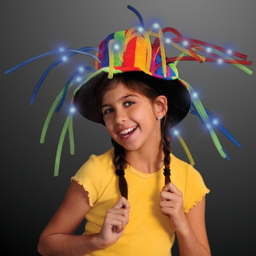 FlashingBlinkyLights Funny Clown Top Hat with LED Lights & Noodle Hair]()