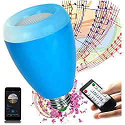 LED Light Bulb,Wireless Bluetooth Dimmable Liamp Bulb Speaker, E27 Base RGB Multicolor Changing LED Music Smart Bulb Lamp for iPhone, iPad and Android Phone.(Blue)