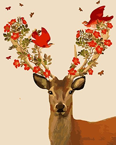 Lovebaby Oil Painting for Adults Kids Paint By Number Kit Digital Oil Painting Deer 16X20 Inches
