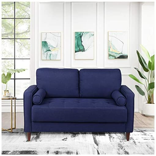 Living Room Uphlostered Loveseat Mid Century Modern Love Seat with Tufted Thickened Cushion Fabric Loverseat Couch for Living Room… modern sofas and couches