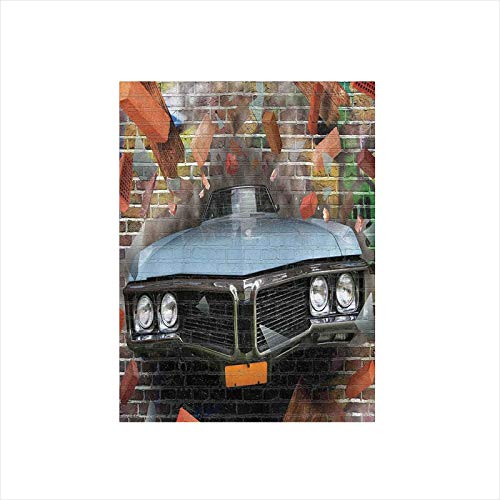 Decorative Privacy Window Film/Graffiti Featured Graphic of Crashing Automobile on A Brick Wall Underground Street Style/No-Glue Self Static Cling for Home Bedroom Bathroom Kitchen Office Decor Multi ()