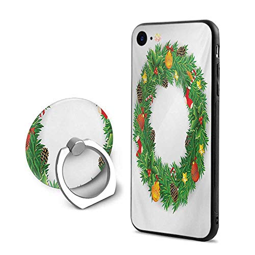 - Christmas iPhone 6 Plus/iPhone 6s Plus Cases,Festive Wreath Evergreen with Candy Cane Stockings Mistletoe Berries on Door Green White,Mobile Phone Shell Ring Bracket