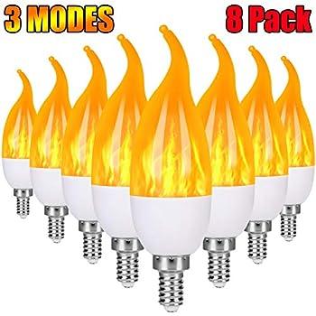 Severino  E12 Flame Bulb LED Candelabra Light Bulbs,1.2 Watt   Chandelier Bulbs, 3 Mode Christmas Decorations Light  Candle Bulbs, Flame Tip Vintage Flame Bulbs for Holiday party Decor(8 Pack)