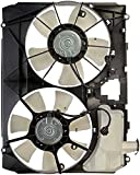 APDTY 732177 Dual Radiator Condenser Cooling Fan Assembly w/ Fan Motor, Blade, Shroud, And Coolant Overflow Bottle Reservoir Fits 2006 Toyota Sienna