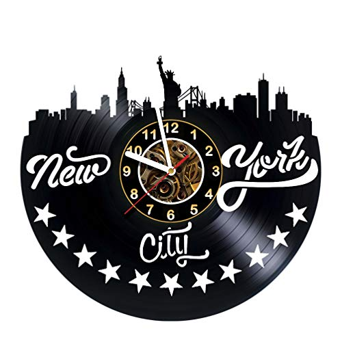 New York City - Vinyl Record Wall Clock - POSTER - Skyline - Sticker -ART - Get unique living room wall decor - Gift idea for friends, teens, men and women, girls and boys - NY Unique Art Design Gifts